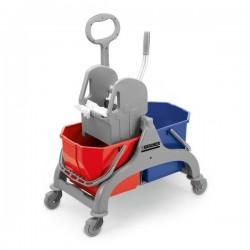 Wózek z dwoma wiadrami i prasą