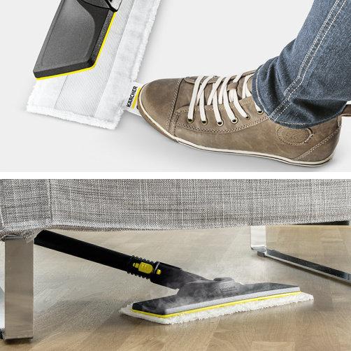 Zestaw do czyszczenia podłóg EasyFix z nowym systemem mocowania pada za pomocą rzepa. Optymalne rezultaty czyszczenia na wszystkich rodzajach podłóg twardych dzięki wydajnej technologii lameli. Zmiana pada z mikrofibry bez kontaktu z brudem. Łatwe mocowanie pada na dyszy dzięki rzepowi. Ciągły kontakt z czyszczoną powierzchnią i łatwe operowanie dzięki ruchomemu przegubowi.